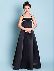 cheap -A-Line Princess Spaghetti Straps Floor Length Satin Junior Bridesmaid Dress with Pleats by LAN TING BRIDE®