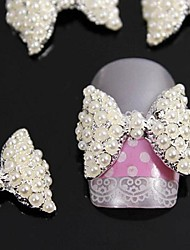 cheap -10pcs  3D  Pearl  Bow Tie Alloy Accessories Nail Art Decoration