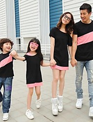 baratos -Family's Fashion Joker Leisure Parent Child Short Sleeves T Shirt And Dress