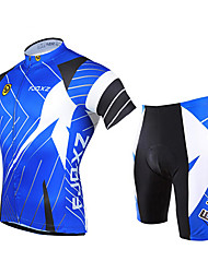 cheap -FJQXZ Cycling Jersey with Shorts Men's Short Sleeves Bike Clothing Suits Quick Dry Ultraviolet Resistant Front Zipper Breathable 3D Pad