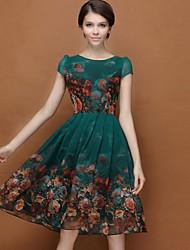 плюс размер цветочные темно-зеленый платье женская, случайные качели шею слоеного рукав
