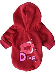 preiswerte -Katze Hund Kapuzenshirts Hundekleidung Buchstabe & Nummer Rot Rosa Kostüm Für Haustiere