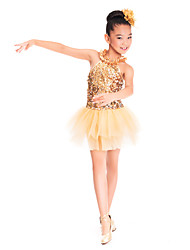 cheap -Kids' Dancewear Dresses Training Spandex Tulle Sequined Sequin Ruffles Sleeveless Natural