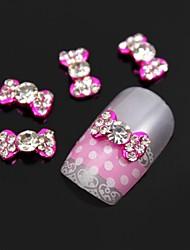 preiswerte -10er klar Strass rosa Fliege Legierung Nagelkunstdekoration