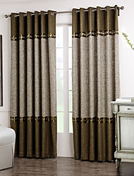 Rod Pocket Grommet Top Tab Top Double Pleat Two Panels Curtain Neoclassical Solid Living Room Polyester Material Curtains Drapes Home