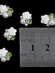 abordables -10pcs 3d rose blanche perle strass fleur accessoires de bricolage de l'art de la décoration des ongles