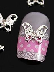 Недорогие -10шт полые бабочки горный хрусталь сплав для кончиков пальцев ювелирных аксессуаров украшения искусства ногтя