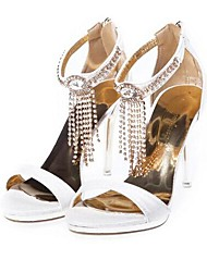 cheap -Women's Shoes Leatherette Spring Summer Stiletto Heel Crystal Tassel for Wedding Casual Office & Career Dress Party & Evening Almond