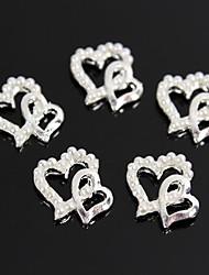 10pcs Pearl Double Heart Design 3D Alloy Nail Art Decoration