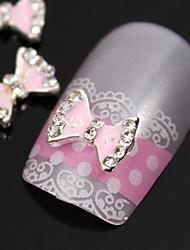 Недорогие -10шт милый розовый лук галстук советы горный хрусталь сплава аксессуары пальцев ногтей украшения