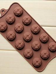 15 buracos moldes forma de girassol bolo de gelo geléia de chocolate, silicone 22 × 10,5 × 1,5 cm (8,7 × 4,1 × 0,6 cm)