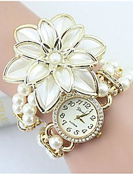 cheap -Women's Bracelet Watch Imitation Diamond Alloy Band Flower / Pearls / Fashion White / Gold / One Year / SSUO 377