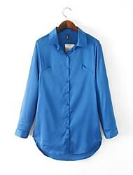 baratos -Mulheres Camisa Social Vintage Sólido