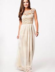 billige -BALI Fashion Chiffon Lace Cut Out Ankle Length Dress