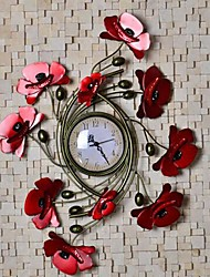 Creative Iron Art Poppy Design Alloy Wall Clock Home Decoration