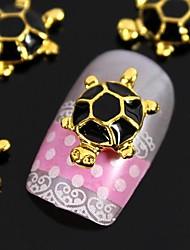 Недорогие -10шт 3d моды сплава золотой черепаха с черным черепаший панцирь украшения искусства ногтя