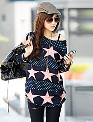 cheap -Women's Off The Shoulder Blue And Pink Star Printing - Long T Shirt
