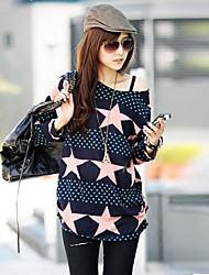 T-shirt Da donna Casual Semplice / Moda città Primavera / Autunno,Con stampe A cappuccio Multicolore Manica lunga Medio spessore