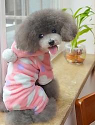 Gatti Cani Felpe con cappuccio Pigiami Marrone Rosa Abbigliamento per cani Inverno Primavera/Autunno A pois Divertente Casual