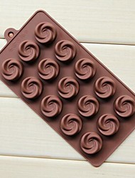 cheap -15 Hole Vortex Rose Shape Cake Ice Jelly Chocolate Molds,Silicone 21.7×10.8×1.7 CM(8.5×4.3×0.7 ICNH)