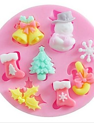 cheap -Snow Snowman Christmas Tree Baking Fondant Cake Choclate Candy Mold,L7cm*W7cm*H1.1cm