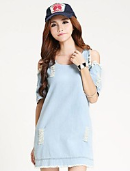 preiswerte -Women's Retro Denim Short Sleeve Party Casual Dress