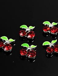 preiswerte -10er roten Steinen Edelkirsche Design 3D-Legierung Nagelkunstdekoration