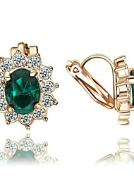 Crystal Clip-On Earrings New Style Lovely Gift 18K Rose Gold Plated Fashion Jewelry