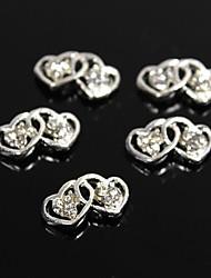10pcs argent à double creux strass en cristal de coeur 3d alliage nail art décoration