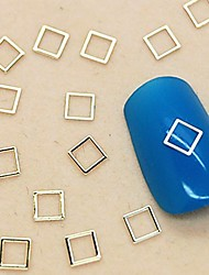 200pcs Hohl quadratische Form goldenen Metallscheibe Nagelkunstdekoration