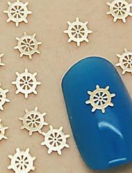 baratos -200pcs ouro barco leme arte fatia de metal decoração de unhas