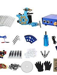 baratos -1 arma concluir nenhum kit tinta de tatuagem com máquina de bala azul tatoo e azul de alumínio de liga de abastecimento de energia