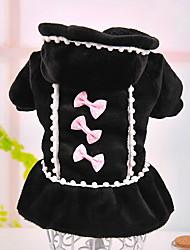 Chien Robe Vêtements pour Chien Princesse Perle Nœud papillon Noir Rose Costume Pour les animaux domestiques