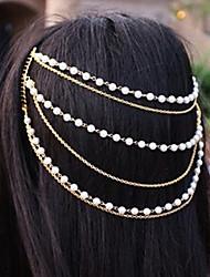 Imitation Pearl Alloy Headband Gold