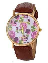 baratos -Mulheres Quartzo Colar com Relógio Relógio Casual PU Banda Flor Vintage Preta Branco Azul Marrom