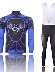 billige -XINTOWN Herre Langærmet Cykeltrøje og tights med seler - Hvid Tegneserie Dyr Cykel Shorts med seler Tights Med Seler Trøje Tøjsæt, Hold