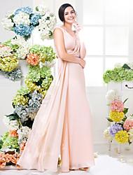 cheap -Sheath / Column V-neck Floor Length Chiffon Bridesmaid Dress with Lace Sash / Ribbon Criss Cross by LAN TING BRIDE®