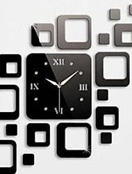 Недорогие -настенные часы стикеры наклейки для стен, модные квадраты зеркало акриловые стены стикеры