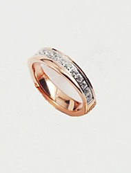 Fashion Women's Rose Gold Titanium Steel CZ Diamond Inlaid Rings