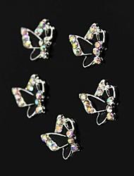 10pcs strass colorfull farfalla nera decorazione nail art