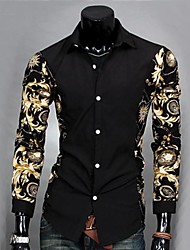 Men's Casual Print Slim Fit Long Sleeve Shirt