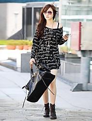 T-shirt Da donna Casual Semplice / Moda città Primavera / Autunno / Inverno Nero Manica lunga Medio spessore