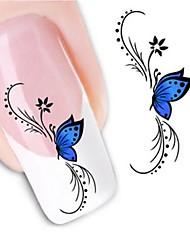 Недорогие -1 Стикер искусства ногтя Наклейка для переноса воды Цветы Свадьба макияж Косметические Ногтевой дизайн
