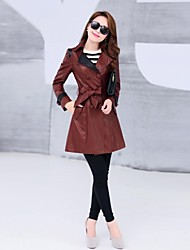 cheap -Women's Street chic Coat-Solid Colored,Modern Style
