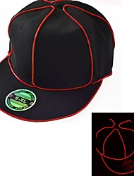Black Light Up Hat with Red EL Wire LED Glow Snapback 1AAA battery