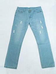 Moda Masculina Borde Long Slim Jeans