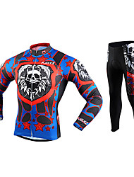 cheap -FJQXZ Men's Long Sleeves Cycling Jersey with Tights - Red Skull Bike Clothing Suits, 3D Pad, Thermal / Warm, Quick Dry, Ultraviolet