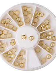 60pcs beige perla decorazioni di arte del chiodo del metallo lipping