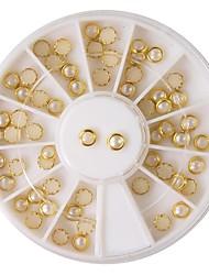 60pcs bež biser metala lipping nail art dekoracije