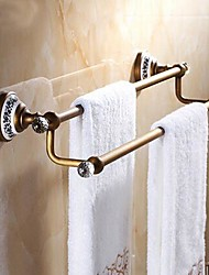 Towel Bar / Antique Brass Brass Crystal Ceramic /Antique